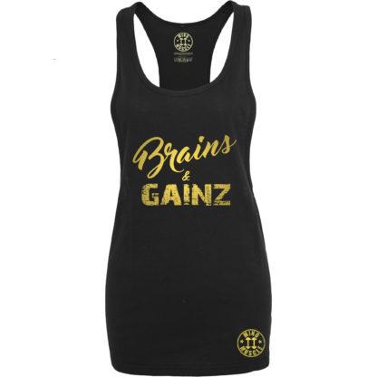 dames fitness tank top goud