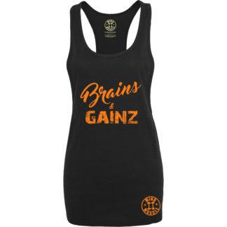 dames fitness tank top oranje logo