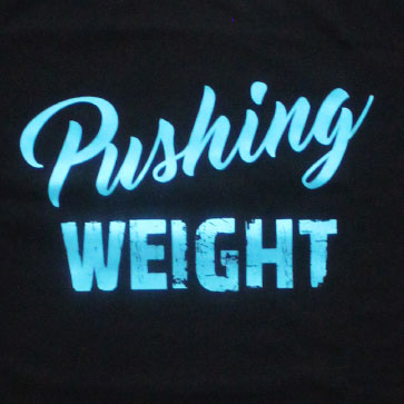 pushing weight closeup