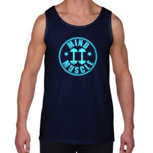 heren fitness logo tank top blauw
