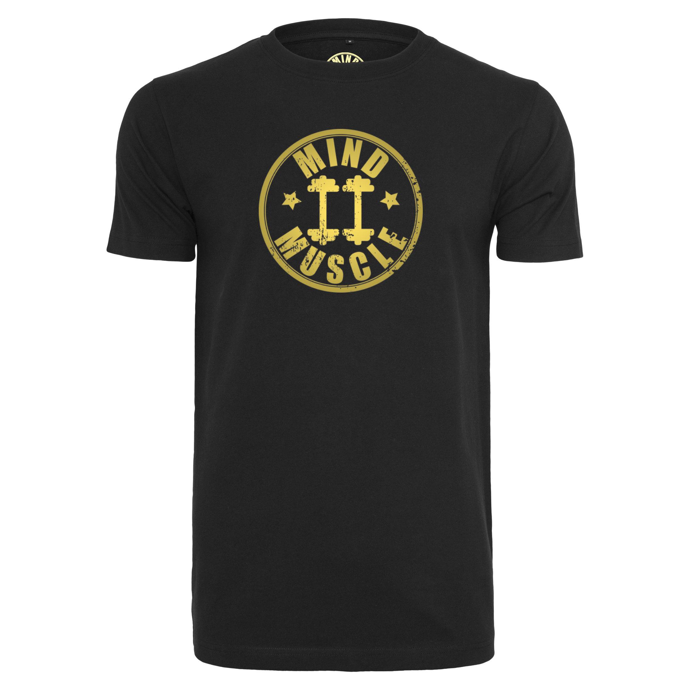 43b99cef6fa Heren fitness logo t shirt goud metallic